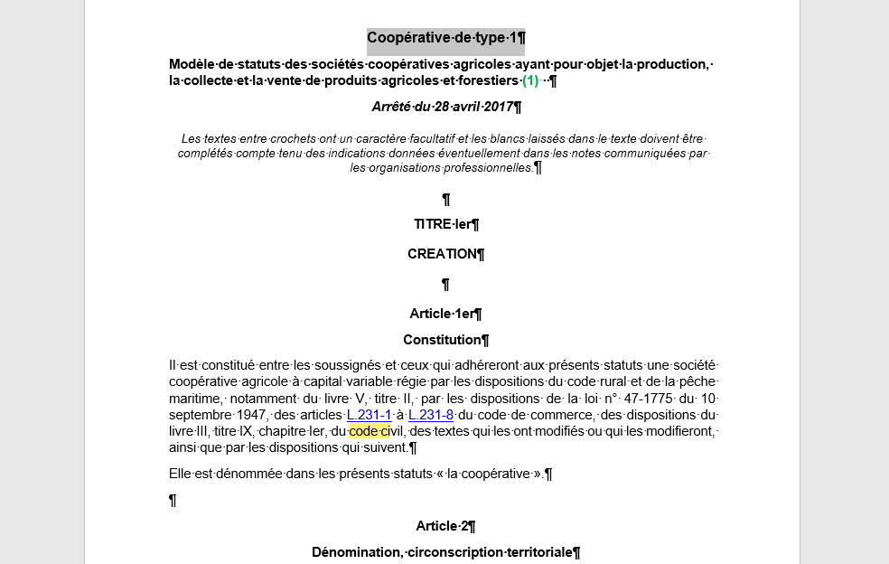 Clause 1 statuts coopérative
