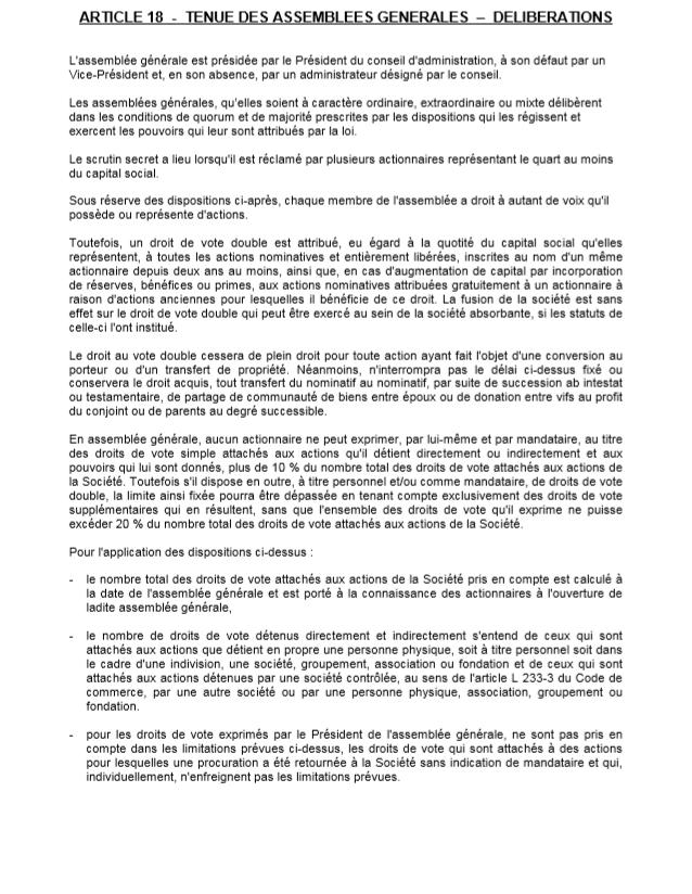 Art. 18 statuts Total AG