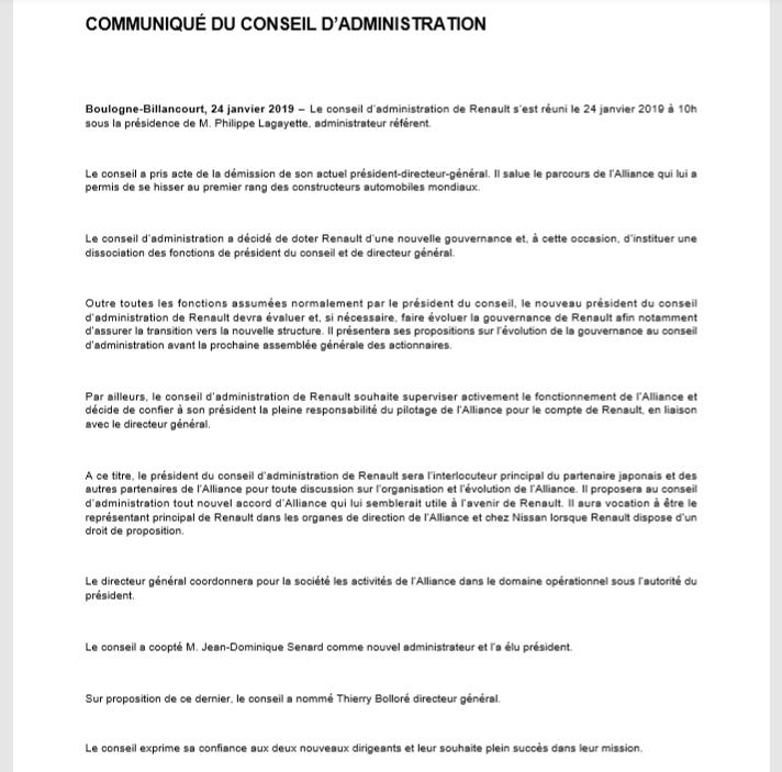 communiqué 24 01 2019 renault